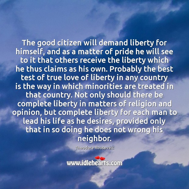 Image, The good citizen will demand liberty for himself, and as a matter