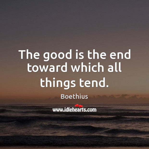 Image, The good is the end toward which all things tend.