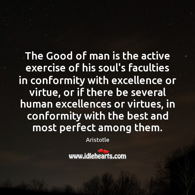 Image, The Good of man is the active exercise of his soul's faculties