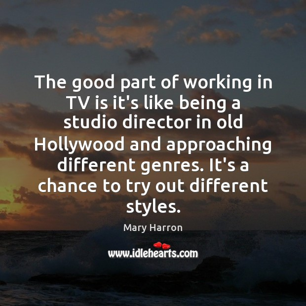 The good part of working in TV is it's like being a Mary Harron Picture Quote