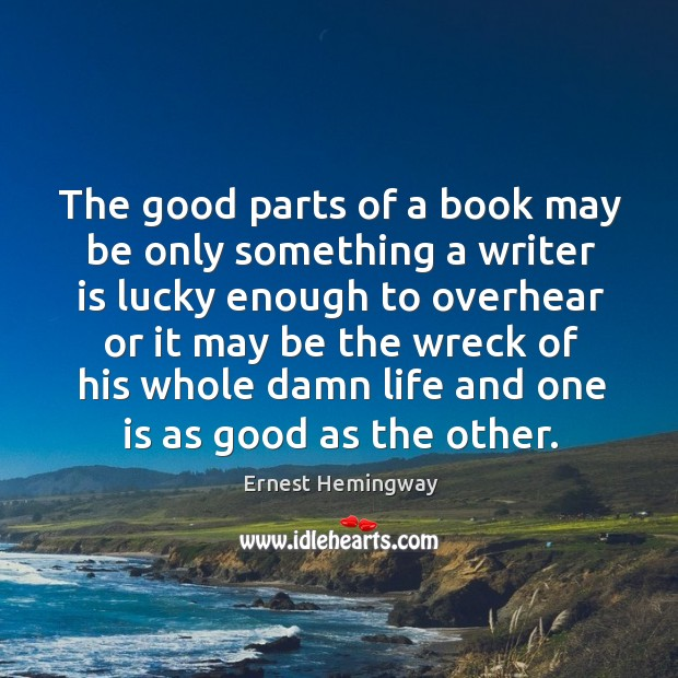 The good parts of a book may be only something a writer is lucky Image