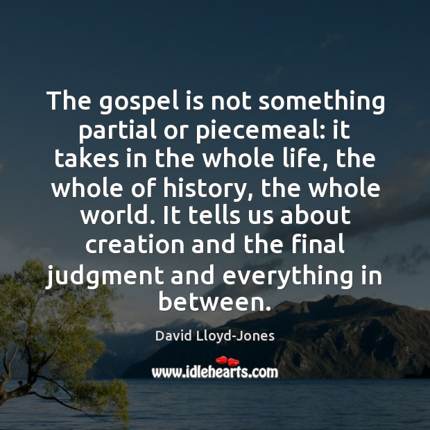 The gospel is not something partial or piecemeal: it takes in the David Lloyd-Jones Picture Quote