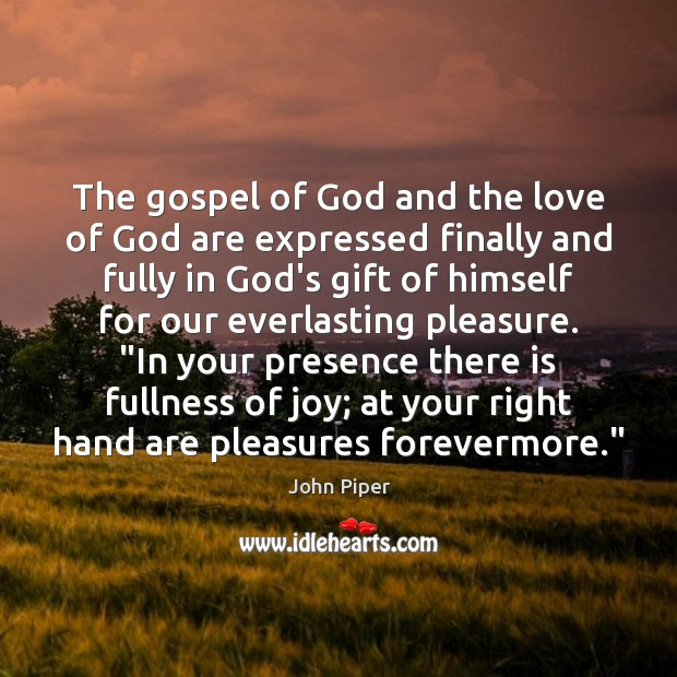 The gospel of God and the love of God are expressed finally Image