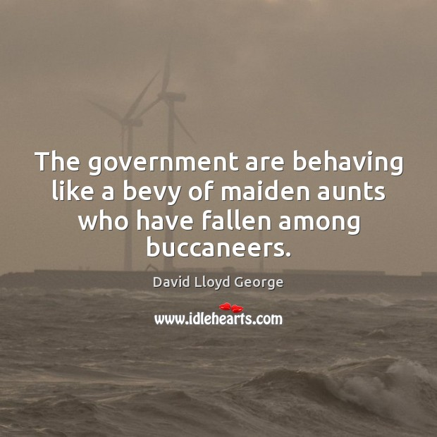 The government are behaving like a bevy of maiden aunts who have fallen among buccaneers. David Lloyd George Picture Quote
