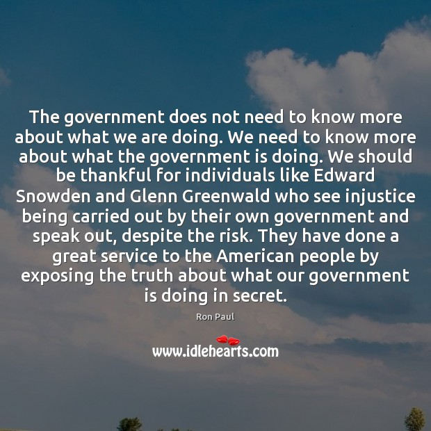 The government does not need to know more about what we are Image