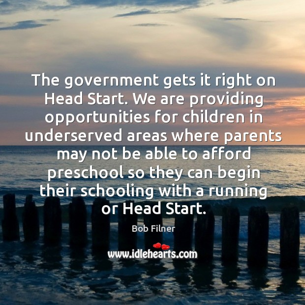Image, The government gets it right on head start.