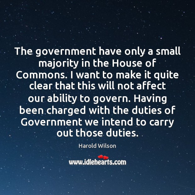 Image, The government have only a small majority in the House of Commons.