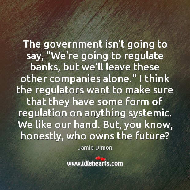 """The government isn't going to say, """"We're going to regulate banks, but Image"""