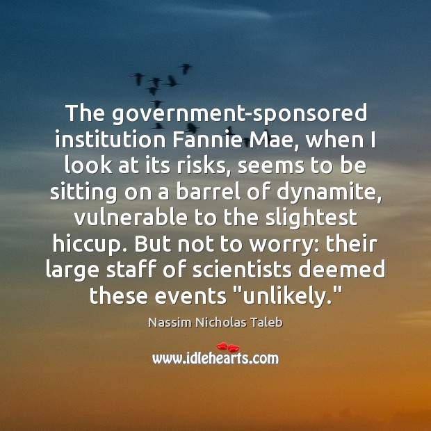 The government-sponsored institution Fannie Mae, when I look at its risks, seems Nassim Nicholas Taleb Picture Quote