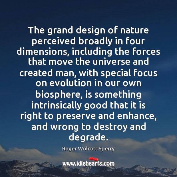 The grand design of nature perceived broadly in four dimensions, including the Image
