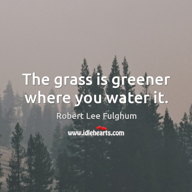 The grass is greener where you water it. Image