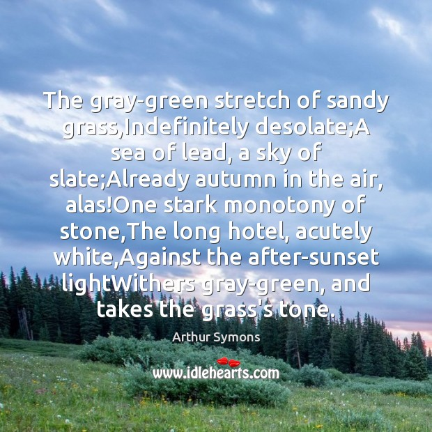 Image, The gray-green stretch of sandy grass,Indefinitely desolate;A sea of lead,