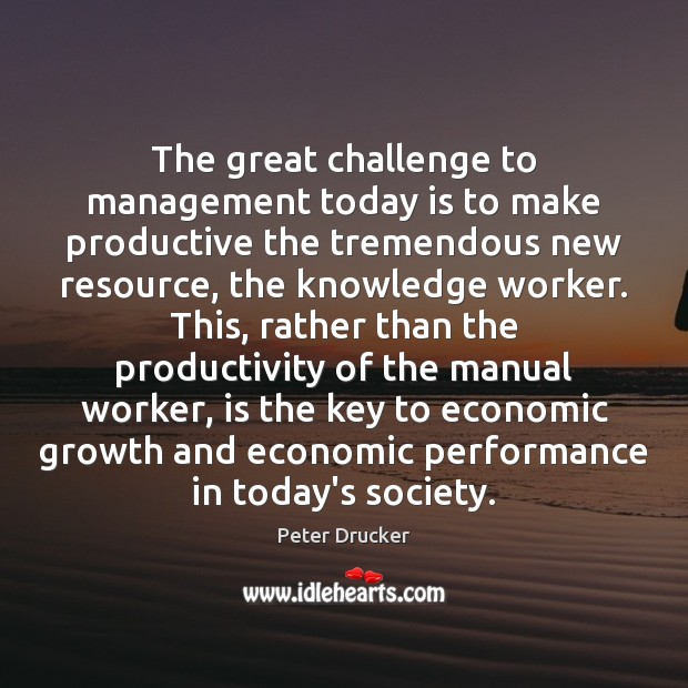 Image, The great challenge to management today is to make productive the tremendous