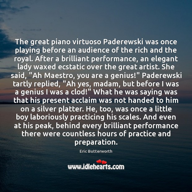 Image, The great piano virtuoso Paderewski was once playing before an audience of