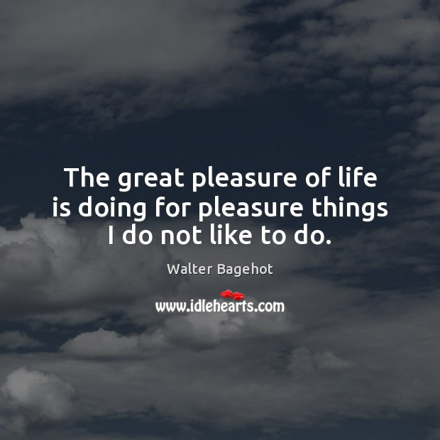 Image, The great pleasure of life is doing for pleasure things I do not like to do.