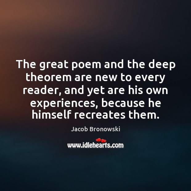 Image, The great poem and the deep theorem are new to every reader,