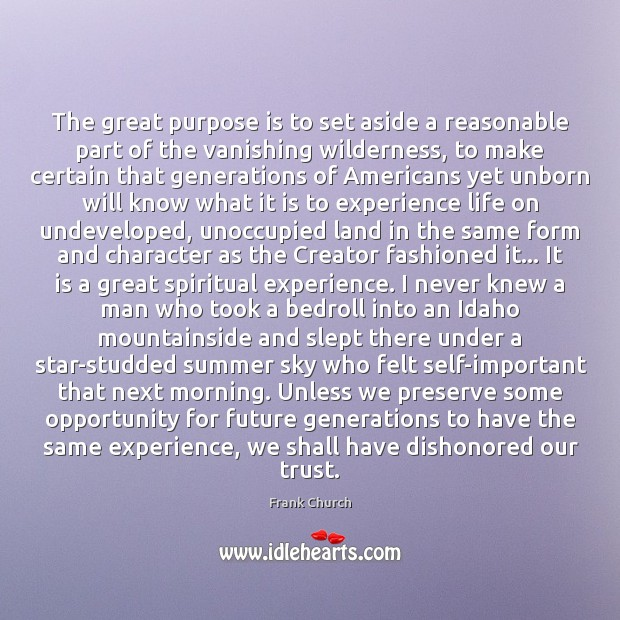 The great purpose is to set aside a reasonable part of the Image