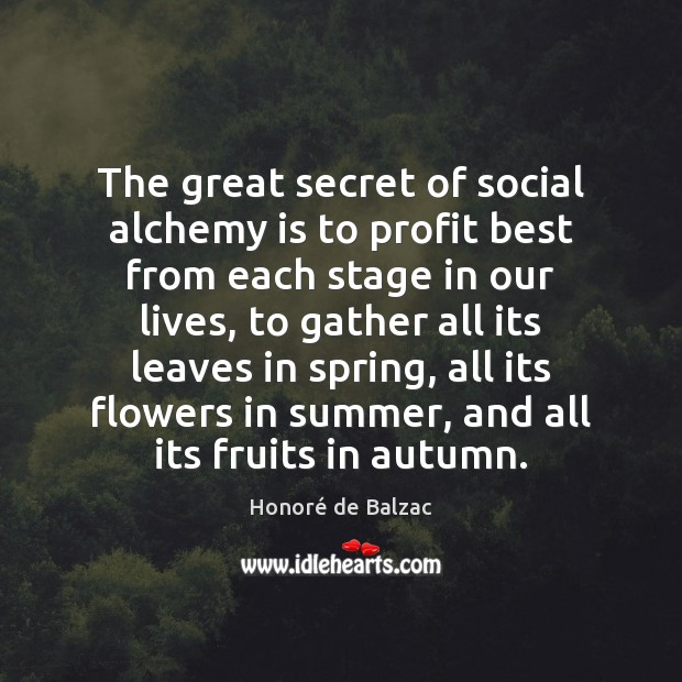 The great secret of social alchemy is to profit best from each Image