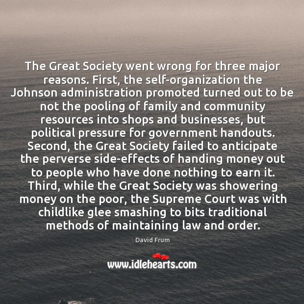 The Great Society went wrong for three major reasons. First, the self-organization David Frum Picture Quote