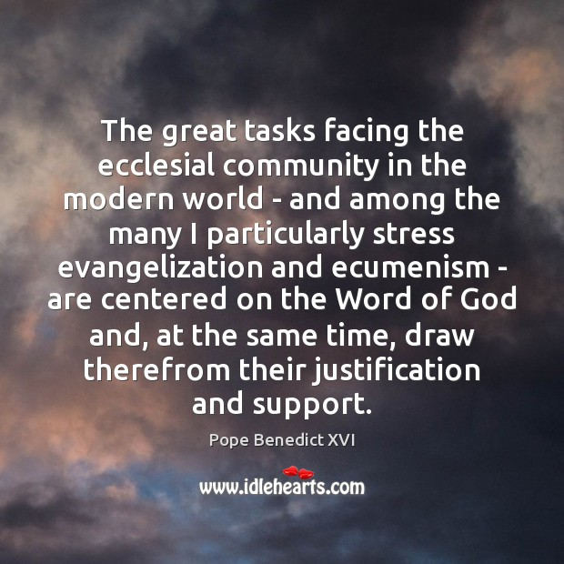 The great tasks facing the ecclesial community in the modern world – Image