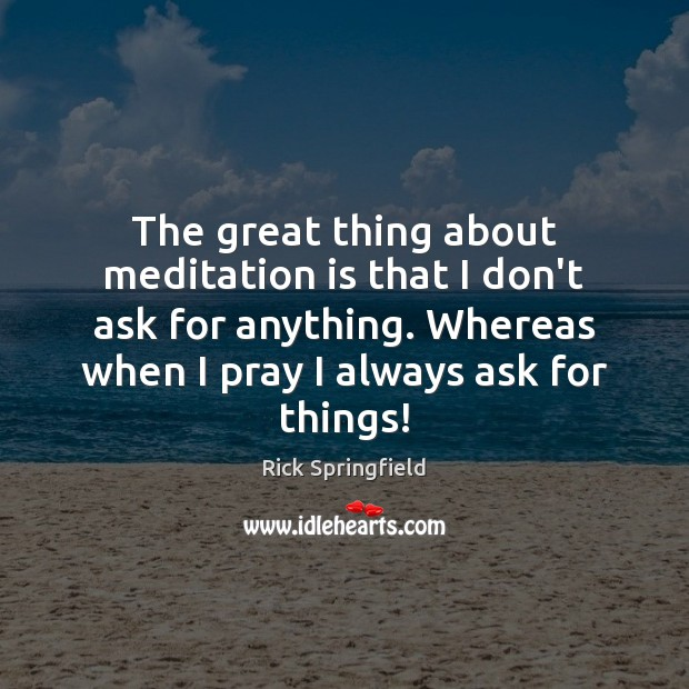 The great thing about meditation is that I don't ask for anything. Rick Springfield Picture Quote