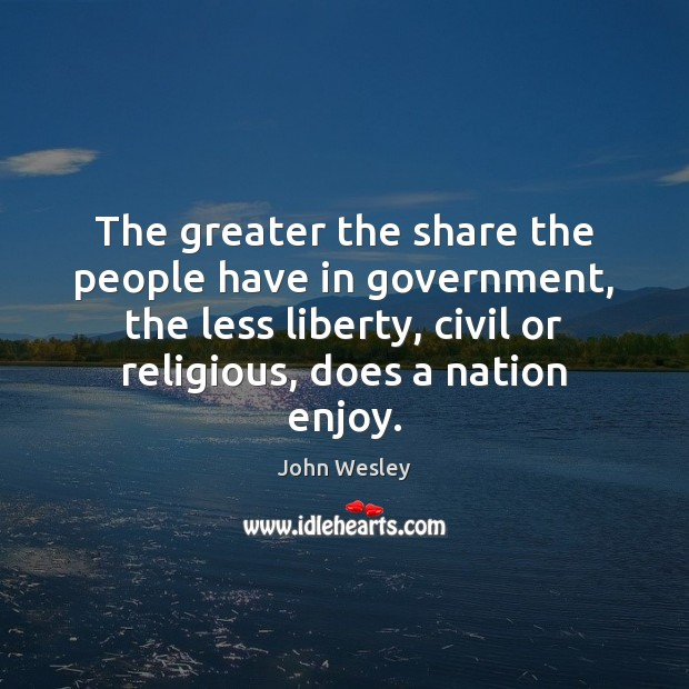 The greater the share the people have in government, the less liberty, John Wesley Picture Quote