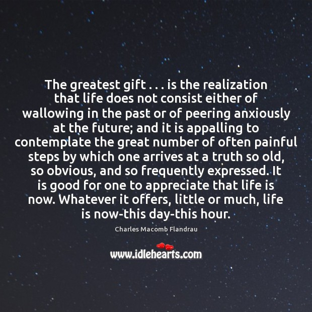 The greatest gift . . . is the realization that life does not consist either Image