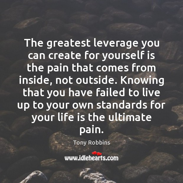 Image, The greatest leverage you can create for yourself is the pain that