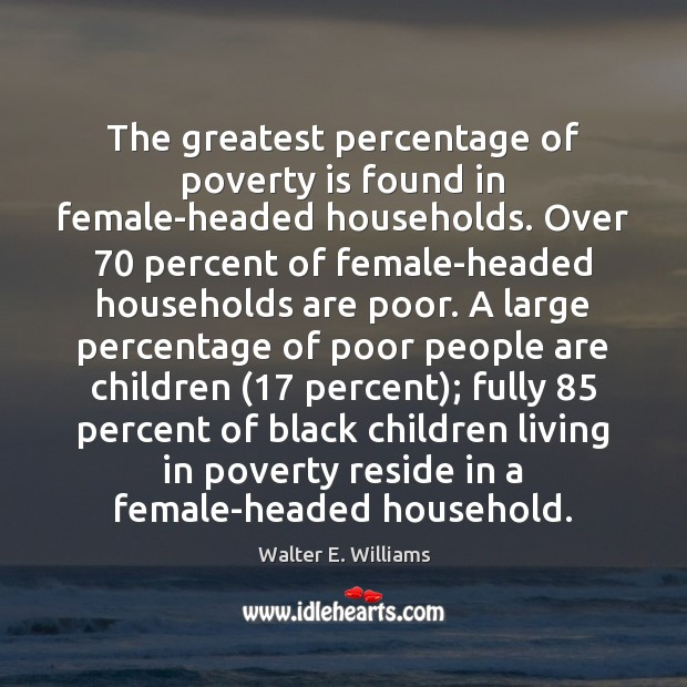 The greatest percentage of poverty is found in female-headed households. Over 70 percent Walter E. Williams Picture Quote