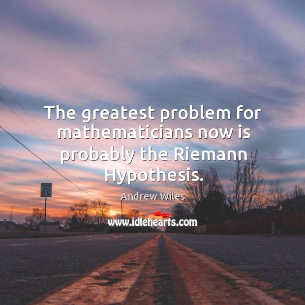 The greatest problem for mathematicians now is probably the riemann hypothesis. Andrew Wiles Picture Quote