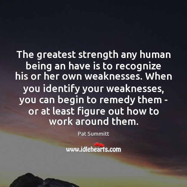 The greatest strength any human being an have is to recognize his Image