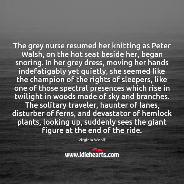 Image, The grey nurse resumed her knitting as Peter Walsh, on the hot