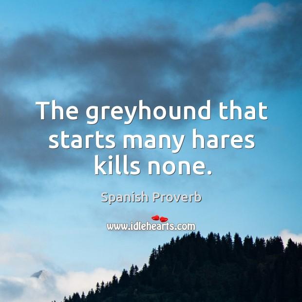 Image, The greyhound that starts many hares kills none.