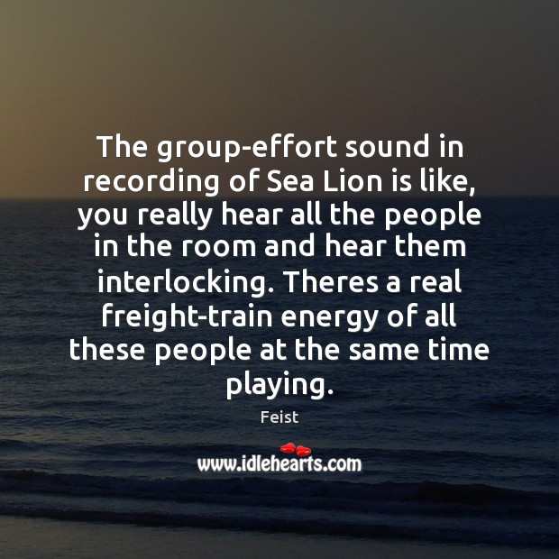 The group-effort sound in recording of Sea Lion is like, you really Image
