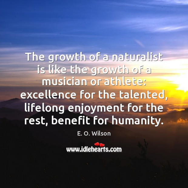 The growth of a naturalist is like the growth of a musician E. O. Wilson Picture Quote