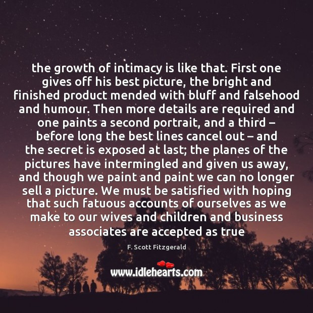 The growth of intimacy is like that. First one gives off his Image