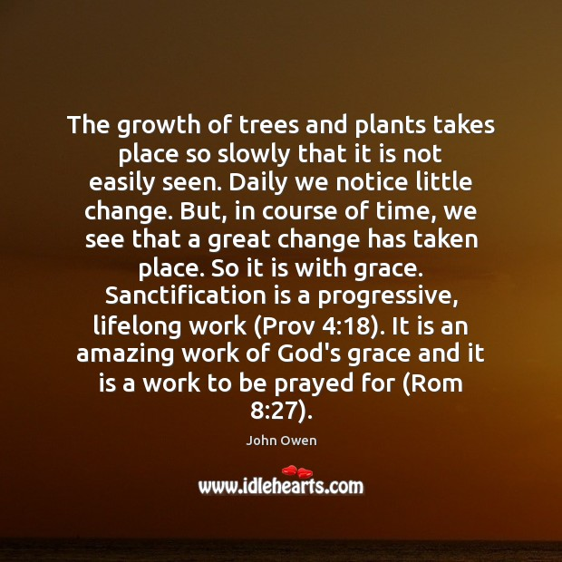The growth of trees and plants takes place so slowly that it John Owen Picture Quote