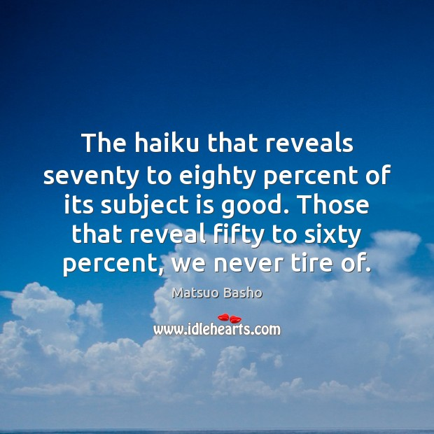 The haiku that reveals seventy to eighty percent of its subject is Matsuo Basho Picture Quote