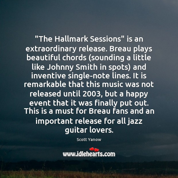 """""""The Hallmark Sessions"""" is an extraordinary release. Breau plays beautiful chords (sounding Image"""