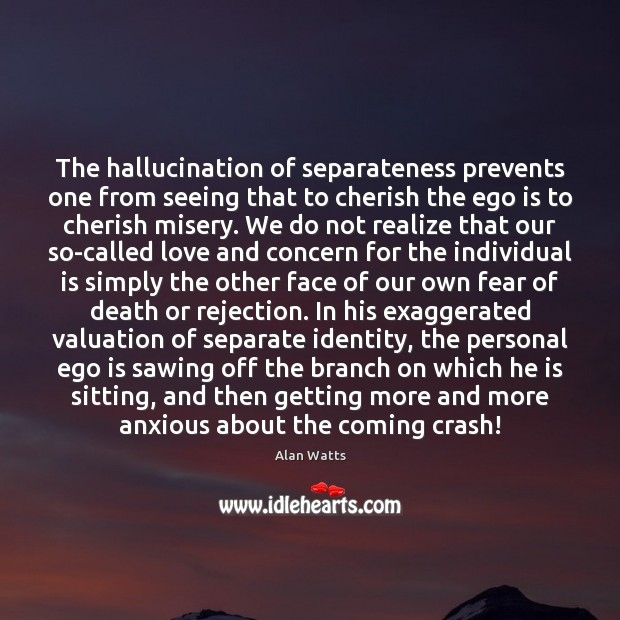 The hallucination of separateness prevents one from seeing that to cherish the Ego Quotes Image