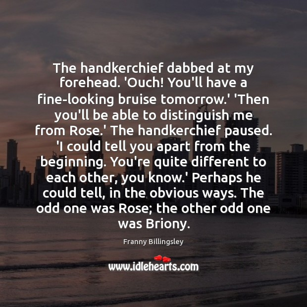 The handkerchief dabbed at my forehead. 'Ouch! You'll have a fine-looking bruise Image