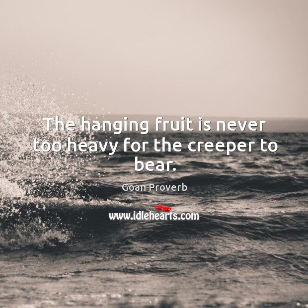 The hanging fruit is never too heavy for the creeper to bear. Goan Proverbs Image