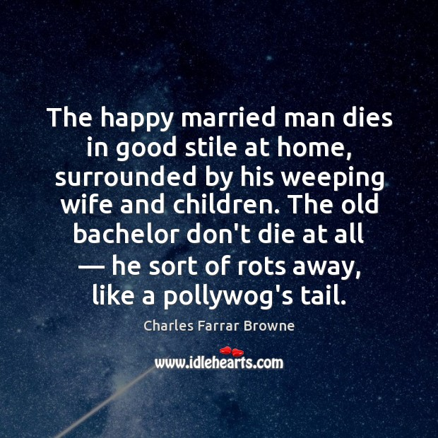 The happy married man dies in good stile at home, surrounded by Image