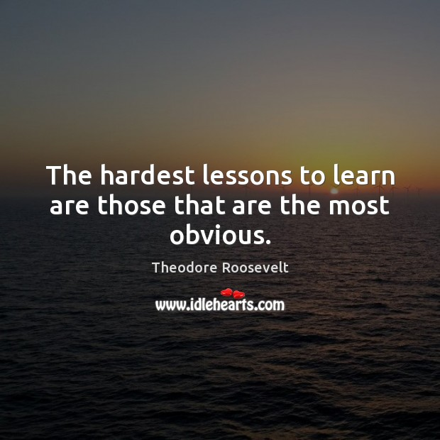 Image, The hardest lessons to learn are those that are the most obvious.
