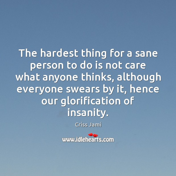 The hardest thing for a sane person to do is not care Image