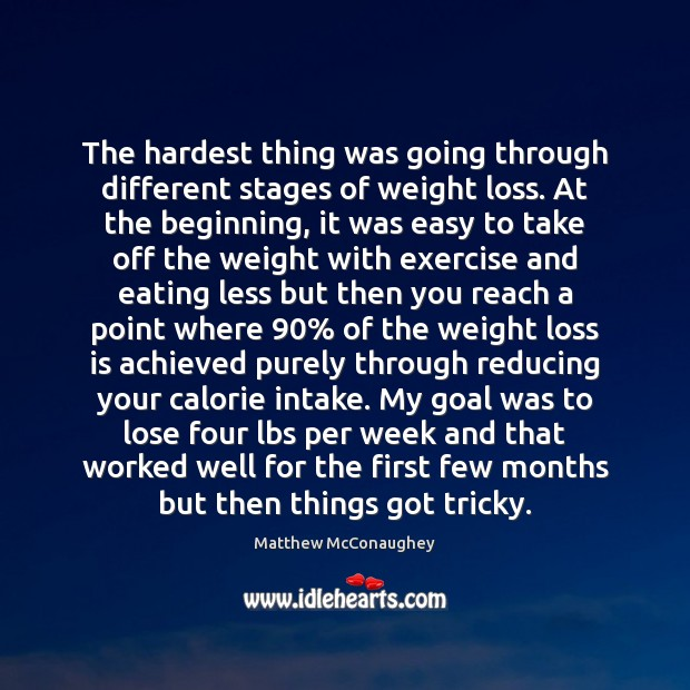 The hardest thing was going through different stages of weight loss. At Matthew McConaughey Picture Quote