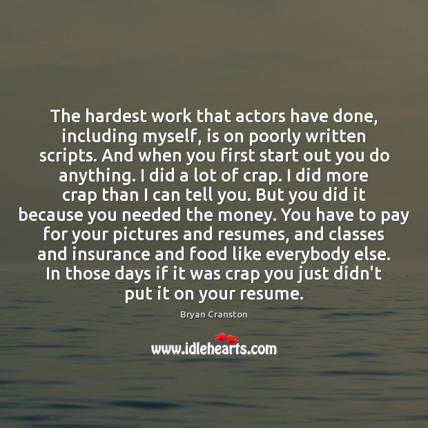 The hardest work that actors have done, including myself, is on poorly Image
