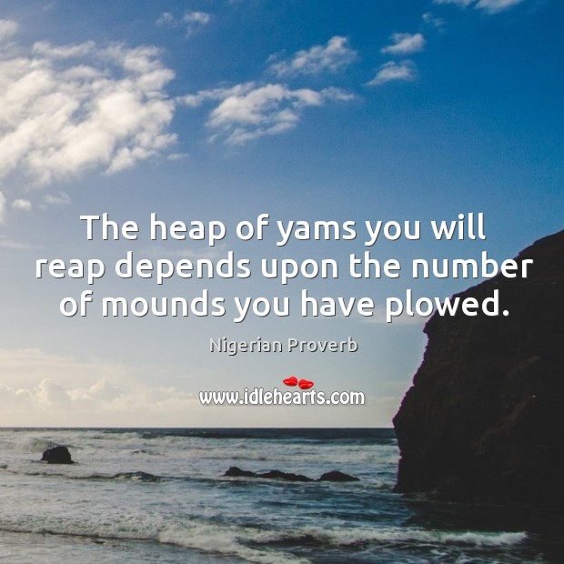 Image, The heap of yams you will reap depends upon the number of mounds you have plowed.