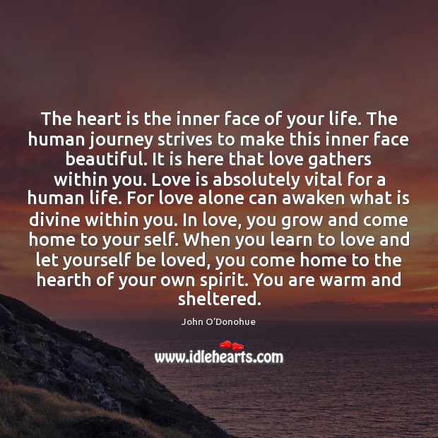 The heart is the inner face of your life. The human journey John O'Donohue Picture Quote
