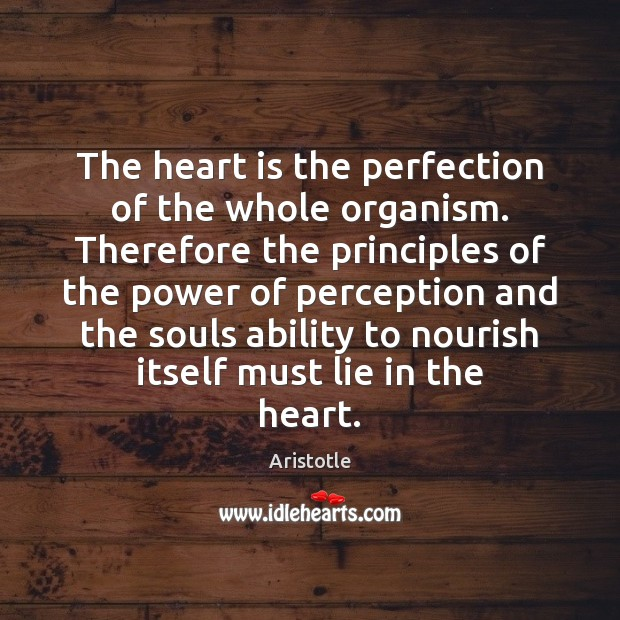 The heart is the perfection of the whole organism. Therefore the principles Image